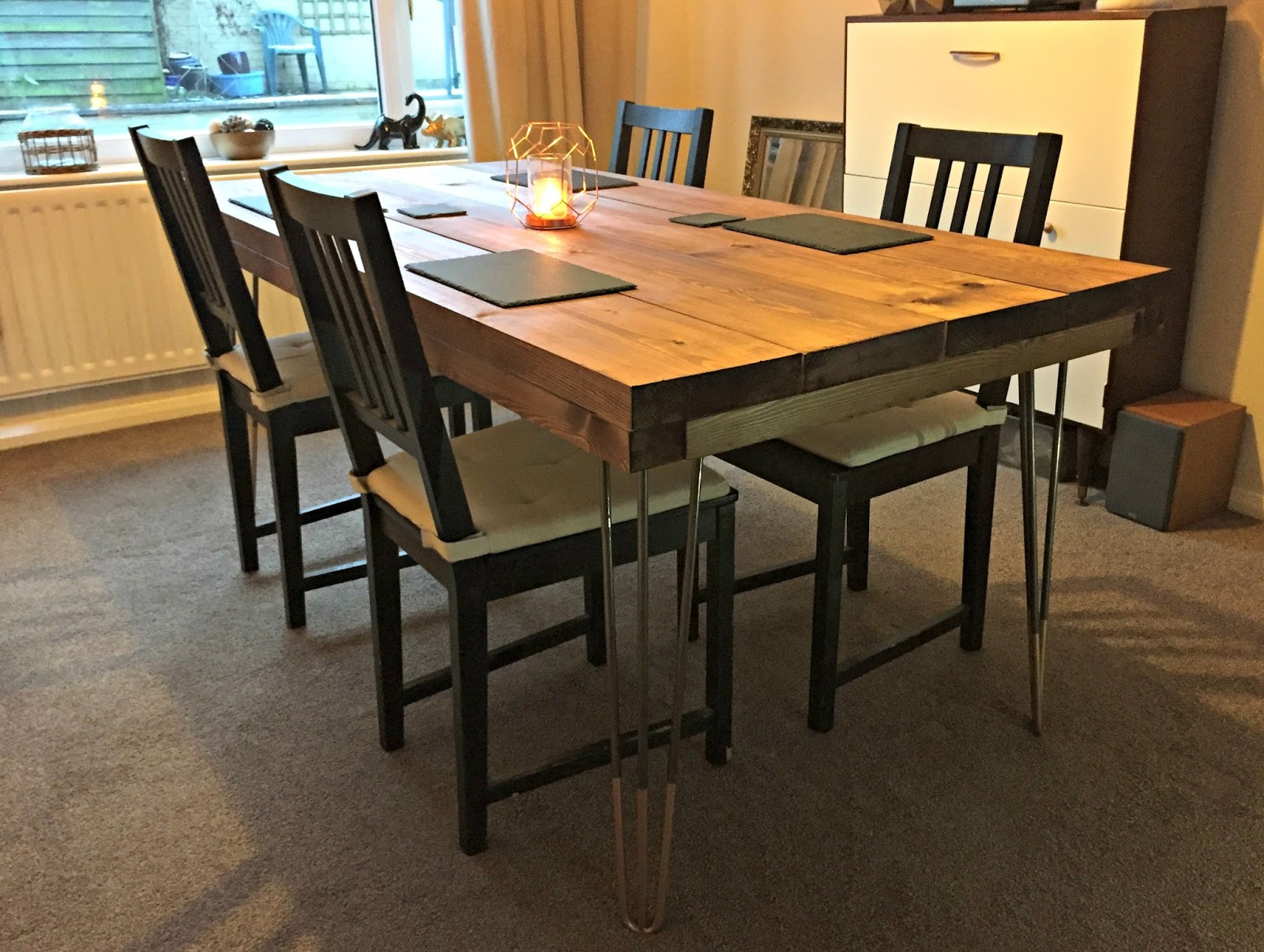 Diy tutorial rustic dining table with hairpin legs tea on the diy tutorial rustic dining table with hairpin legs by the hairpin leg company watchthetrailerfo