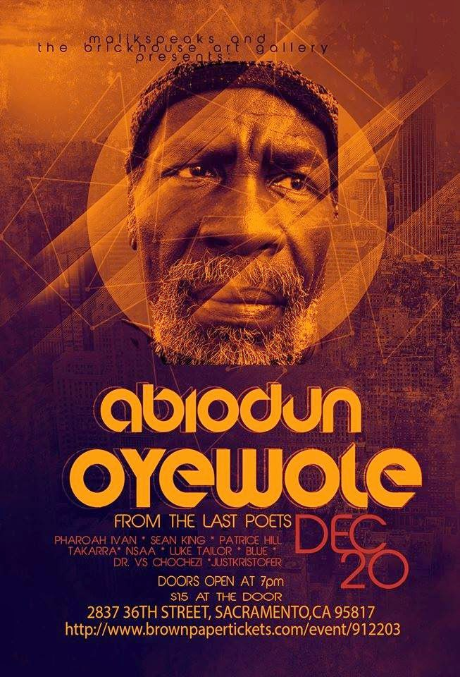 OYEWOLE at the Brickhouse in Sac. Sat. (12/20)