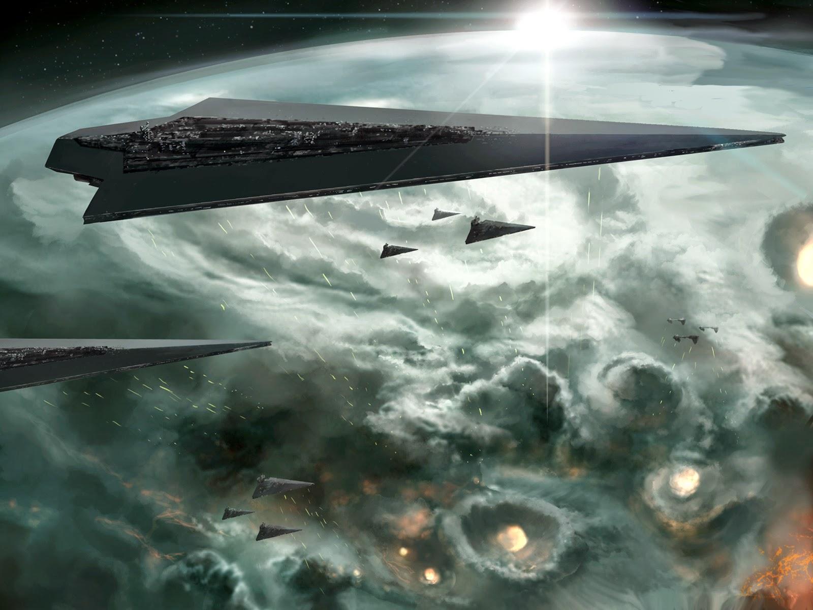 орбитальная атака и бомбардировка планеты из космоса звездным флотом, межзвездными крейсерами
