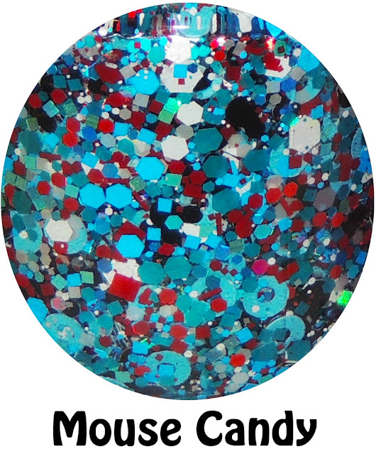 """Mouse Candy- a clear base filled with black mouse heads, red and white hex and square mix, mini red bars, teal donuts, blue metallic holographic hex mix. The picture above shows """"Mouse Candy"""" over Essie Mint Candy Apple."""