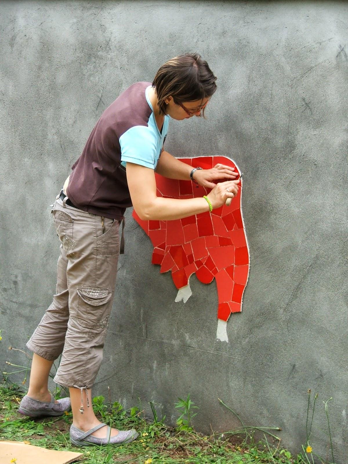 réalisation de chantier mosaïque chez client particulier par artiste mosaïste mimi vermicelle