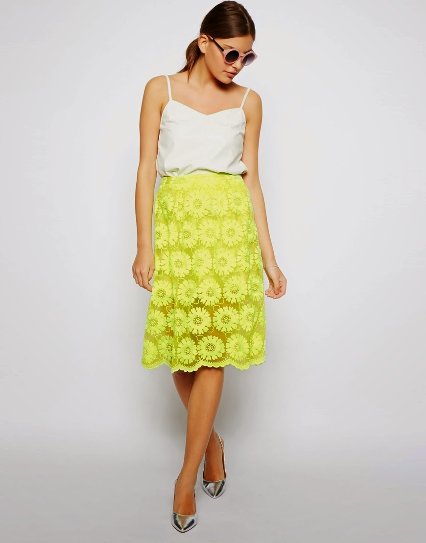 yellow lace skirt