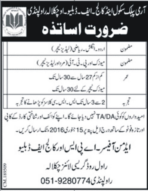 Teachers Jobs for Male & Female at APS & College Rawalpindi