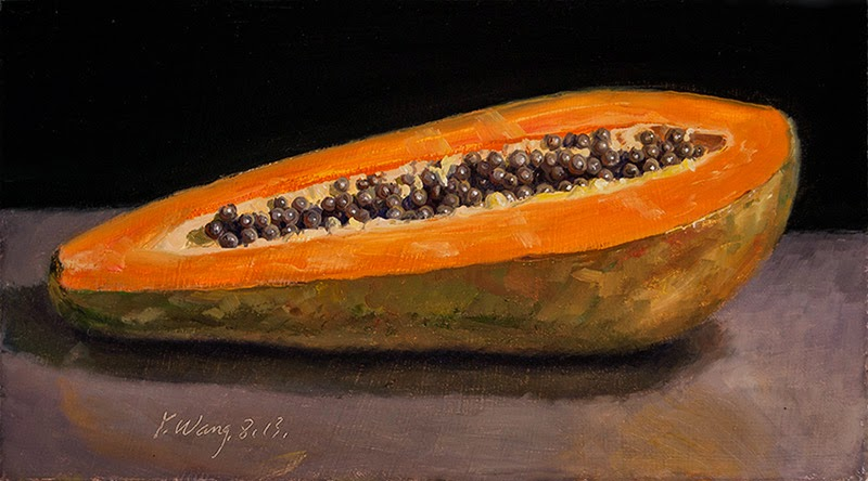 Papaya Art Calendar Uk : Wang fine art papaya half original still life daily