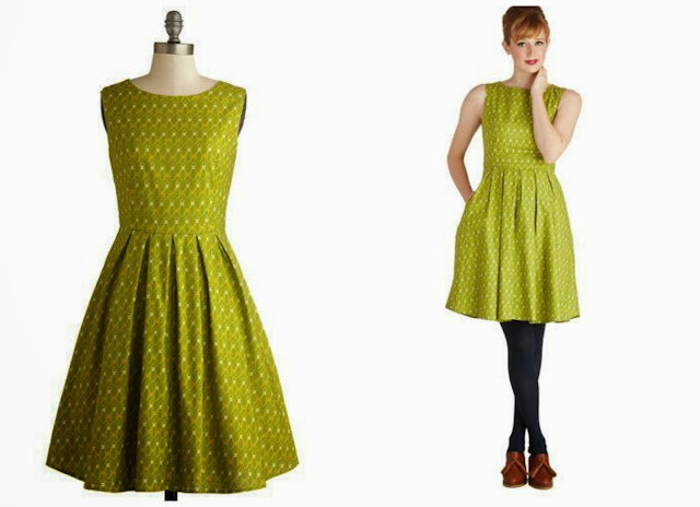 Modcloth, Modcloth.com, Rock and Bowl dress, printed dress, bowling dress, printed dress, a line dress, vintage style dress, retro green dress, Bea and Dot
