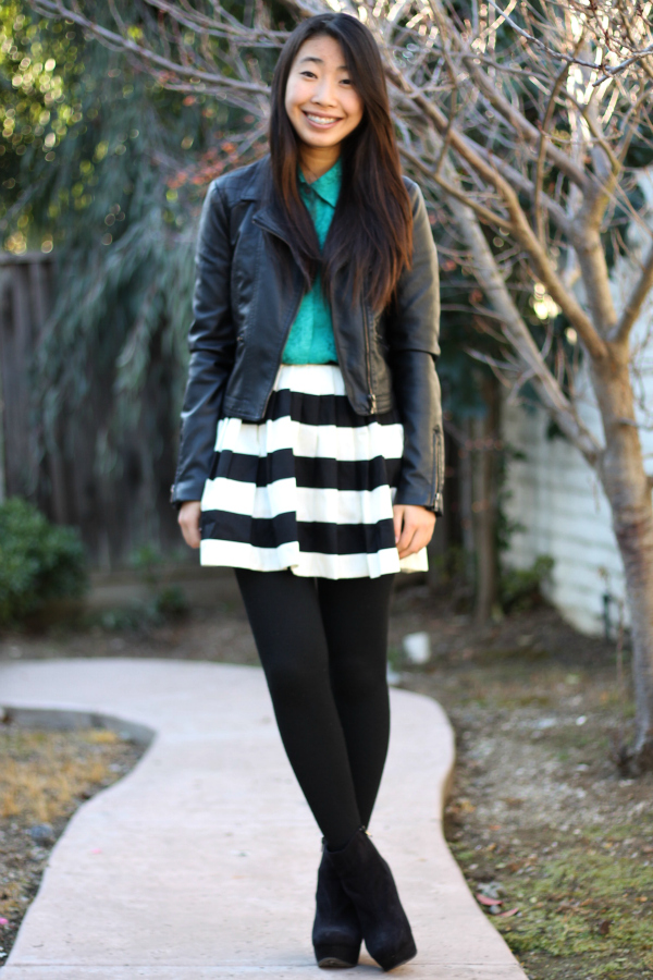 stripe skirt moto jacket