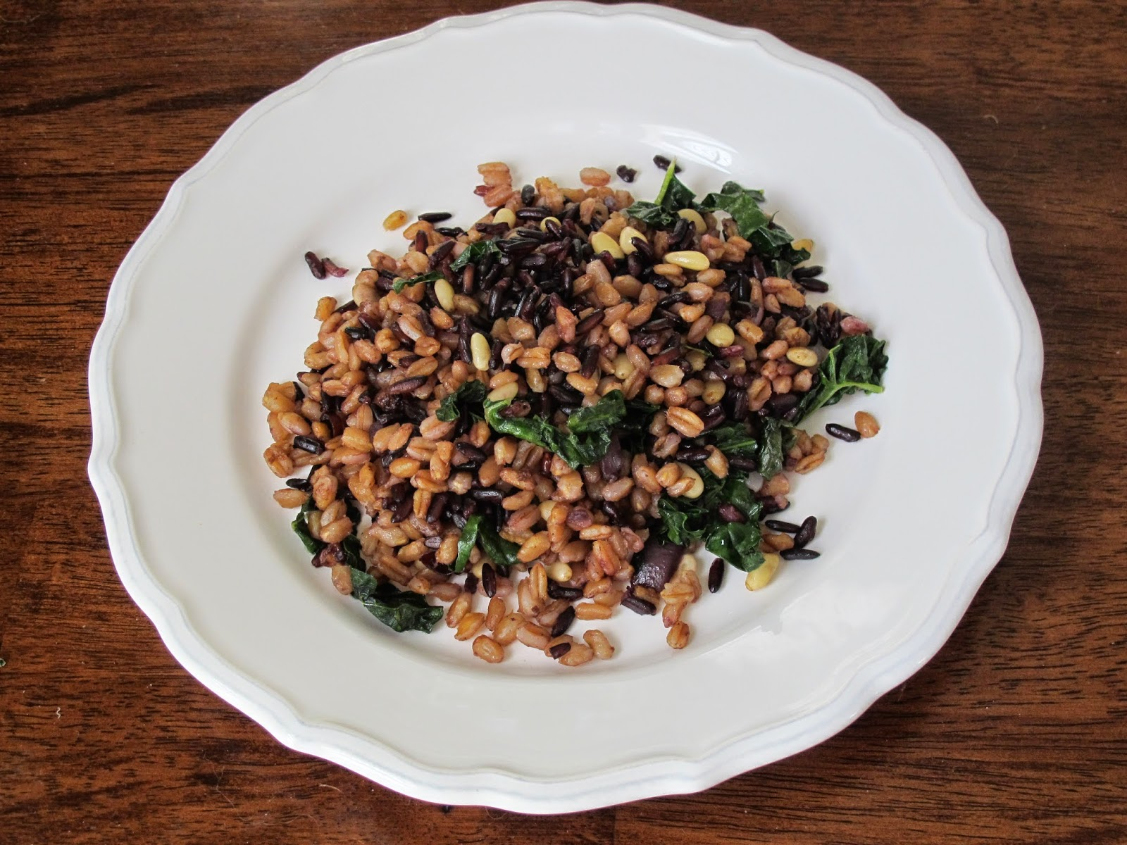 Farro Black Rice with Kale and Pinenuts