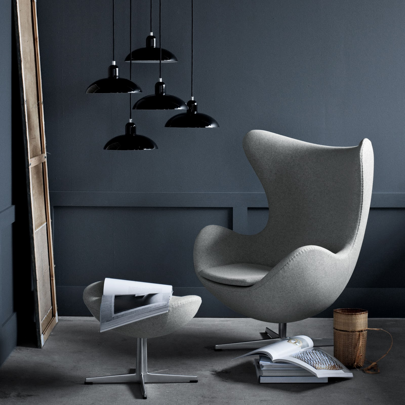 Egg Chair In Light Grey Ducale Fabric By Fritz Hansen