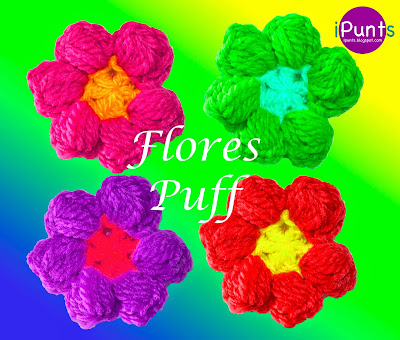 Flores Puff a crochet. Patrón y Video tutorial Paso a Paso Muy Facil