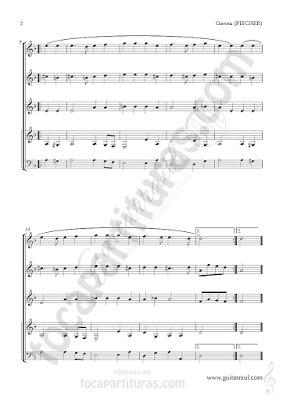 2   Gavota Partitura de Cuarteto de Guitarra de Johann C.F. Fischer Partitura a cuatro guitarras y partitura de guitarra bajo Suite IV Guitar Sheet Music for Cuartet Quartet