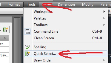 autocad quick select