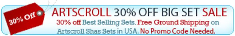 Artscroll 30 % off sale