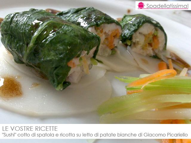 Le vostre ricette sushi cotto di spatola e ricotta su - Pesce su letto di patate ...