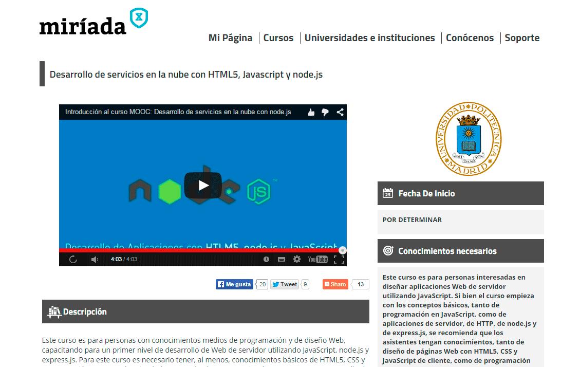 Curso Online Desarrollo de servicios en la nube con HTML5, Javascript y node.js