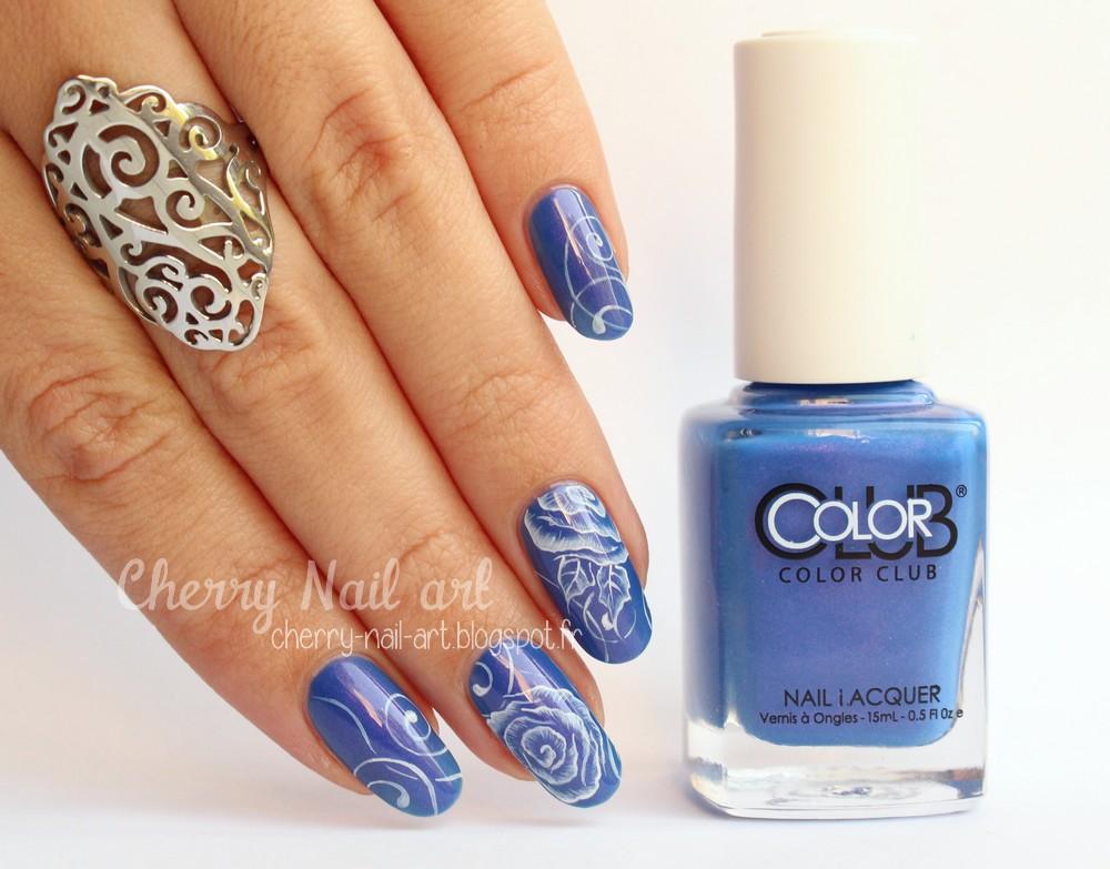 nail art fleur one stroke monochrome