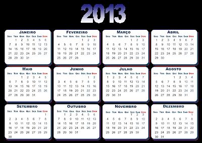 Calendários coloridos 2013 com varios temas