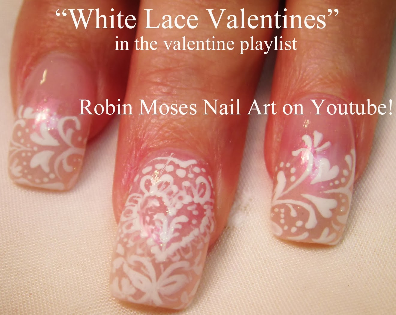 Valentines Day Nails Valentine Nail Art Heart Lace Wedding Bride Easy