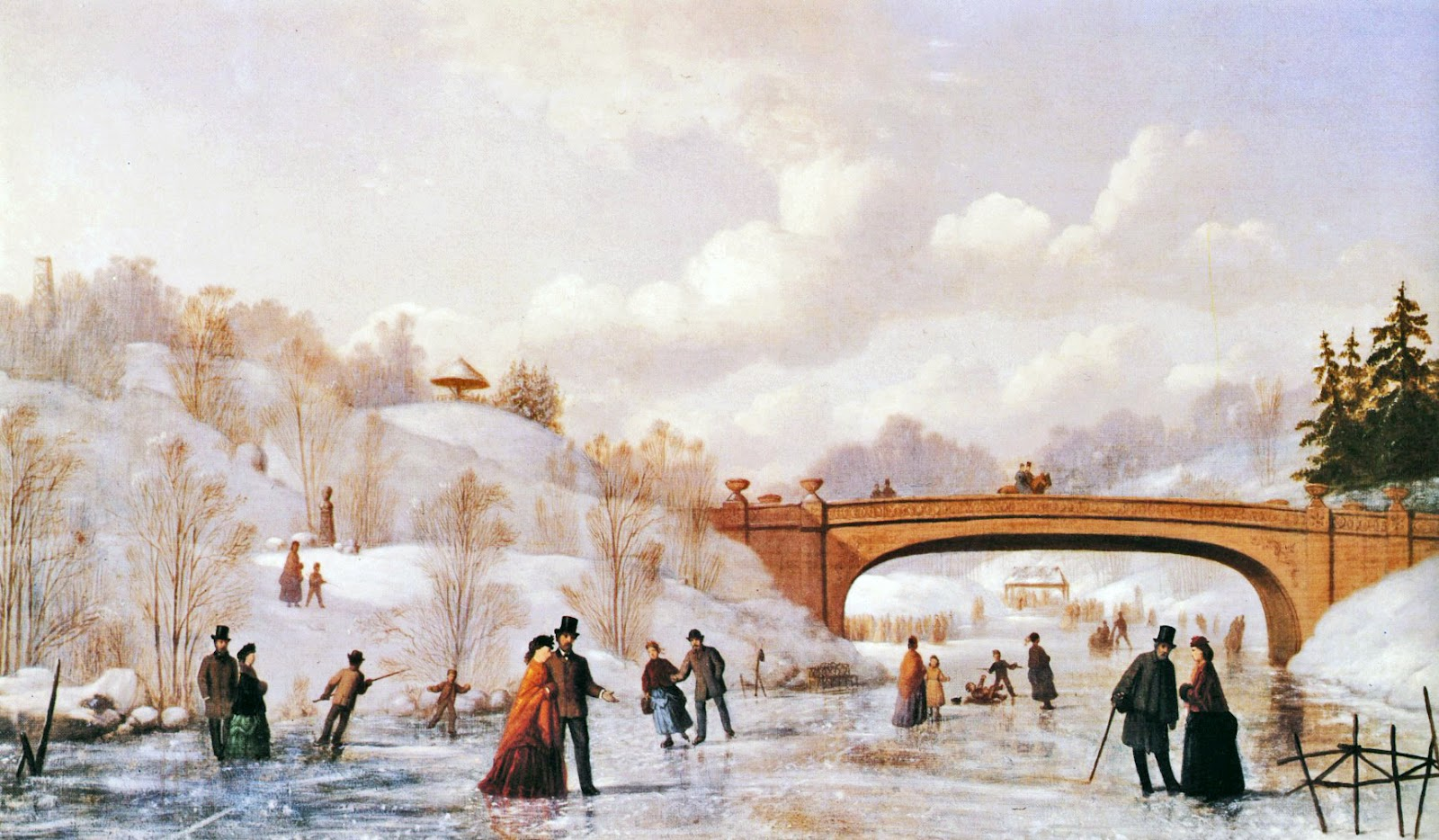 19th century American Paintings: Paintings of Winter Central Park Winter Painting