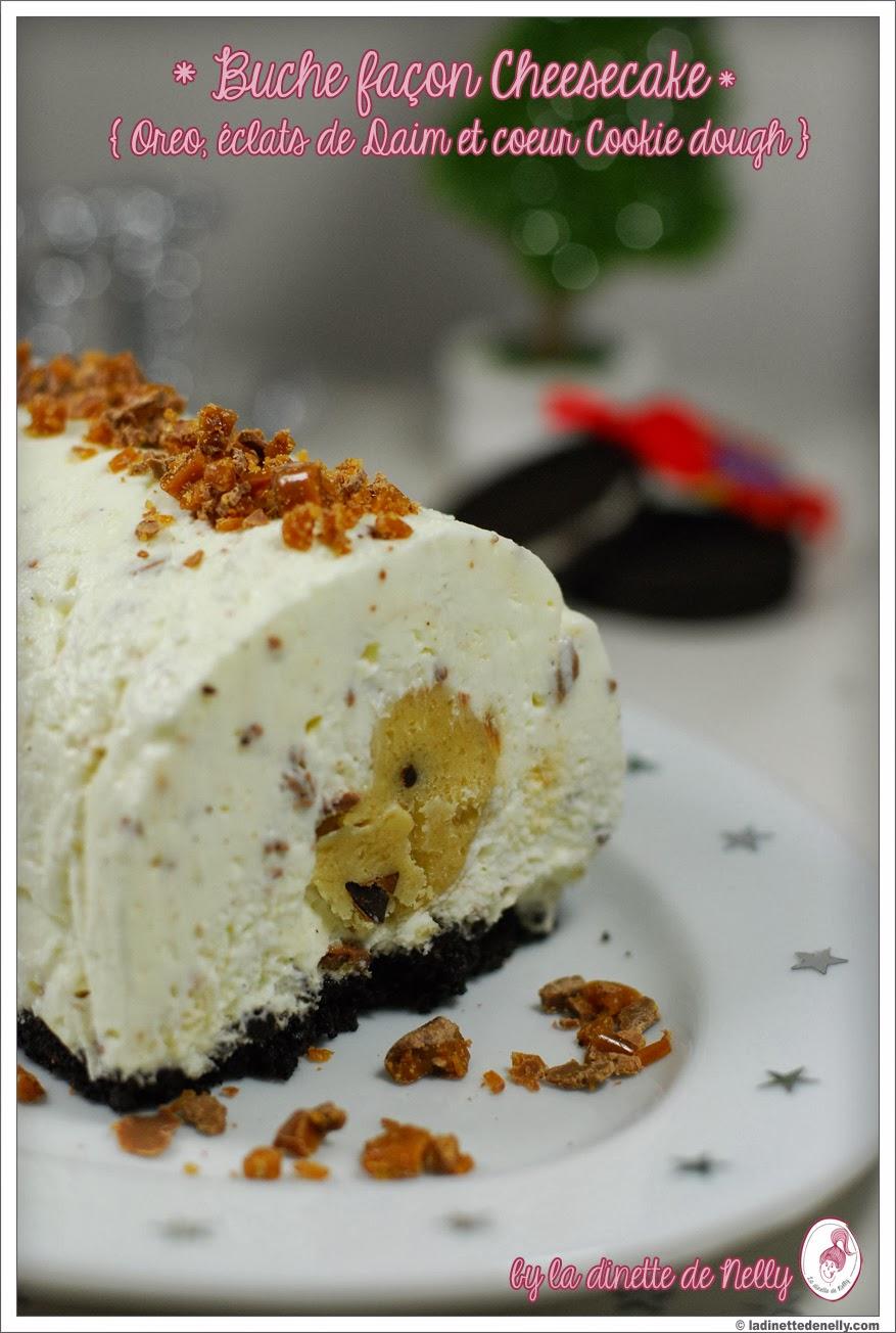 La dinette de nelly buche de noel fa on cheesecake sans cuisson biscuit oreo clats de daim - Buche aux marrons sans cuisson ...