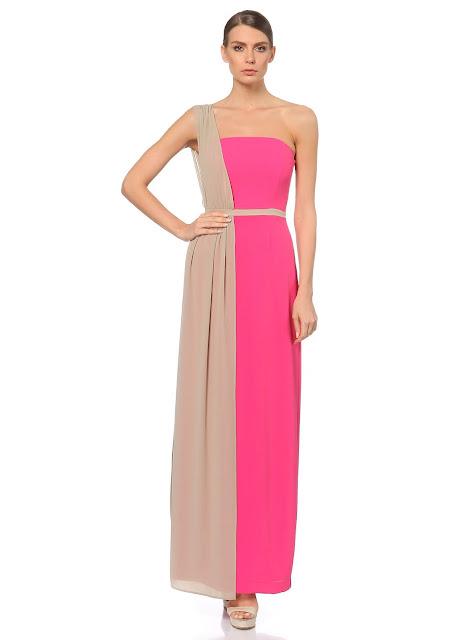 uzun penbe krem elbise