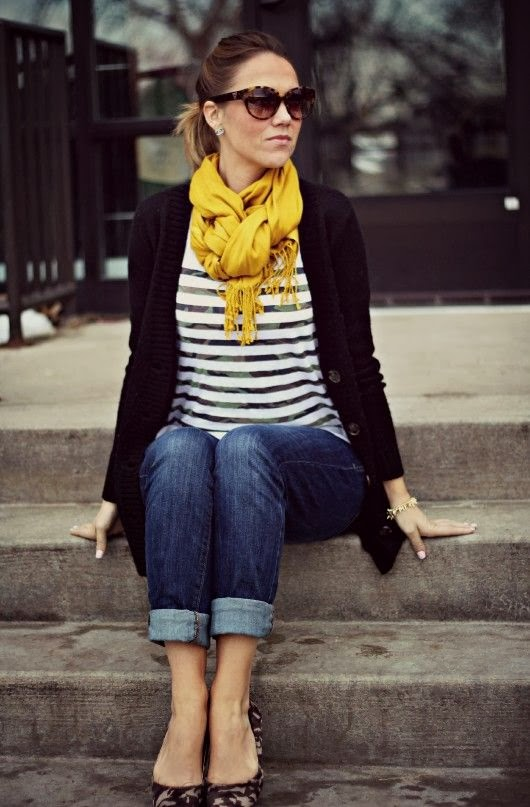 nice yellow scarf outfit 8