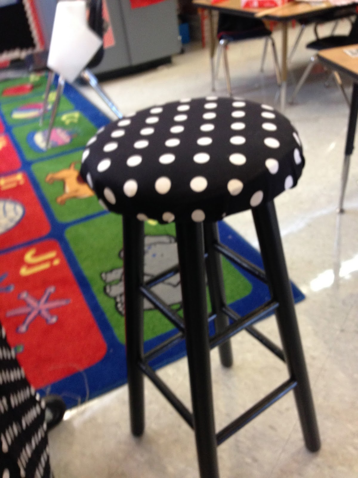 recovered stool, kindergarten classroom, polka dot classroom