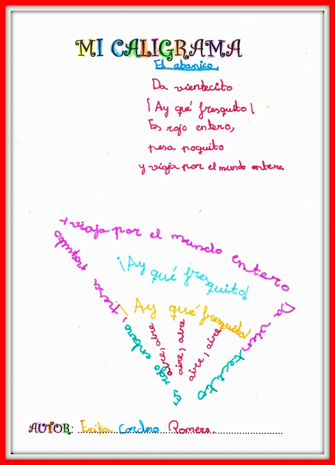 Mi bibliorincón: Caligramas: nuestros poemas visuales