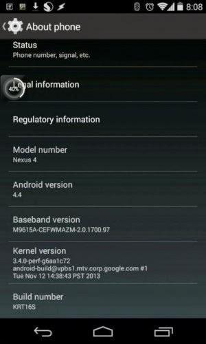 Arriva anche in Italia l'aggiornamento alla versione KitKat per Nexus 4
