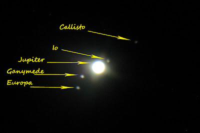 Jupiter and Galilean moons Callisto Io Ganymede Europa through telescope