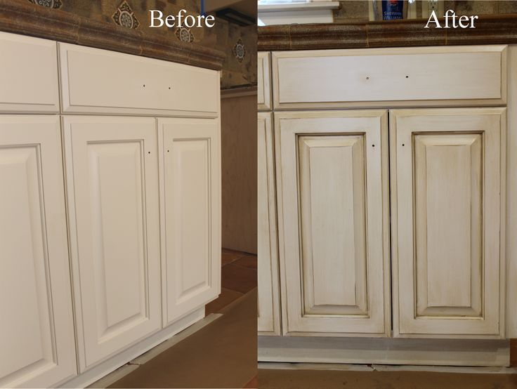How to paint antique white kitchen cabinets step by step for Pictures of white glazed kitchen cabinets
