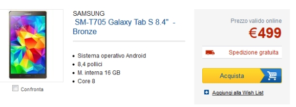 Samsung Galaxy Tab S 8.4-Inch Android Tablet