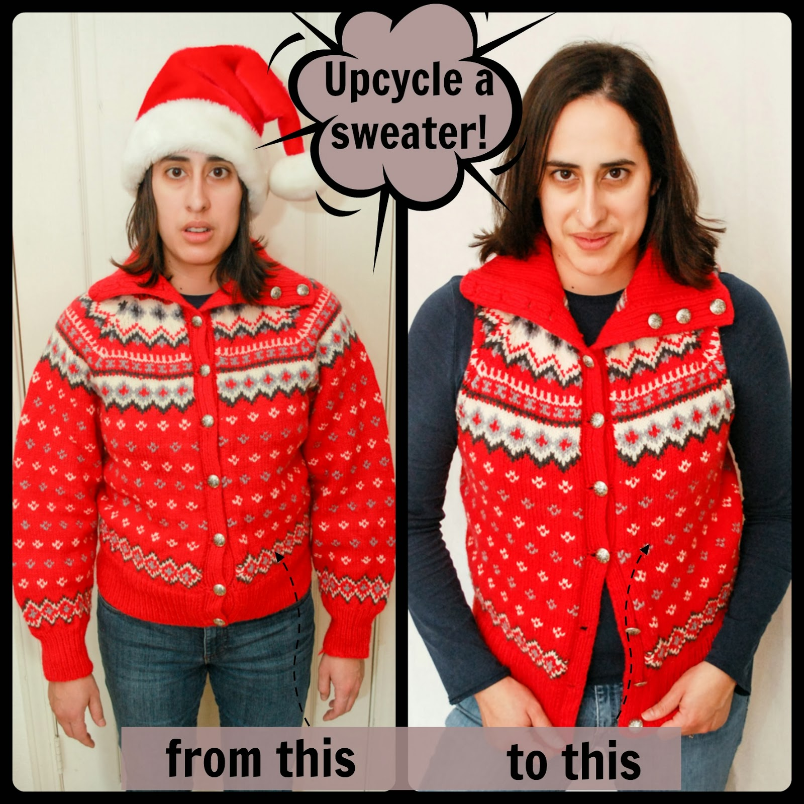 Easy Upcycled Sweater Vest Tutorial - click through and learn how to make one.