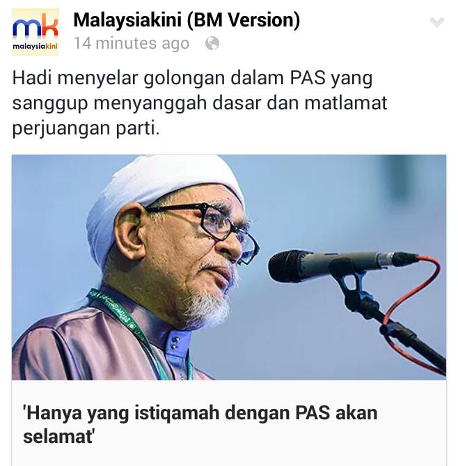Haji Hadi BELASAH Anwarinas Yang RASA CUKUP KUAT dan BIJAK Mereka sebenarnya HIPOKRIK dan LEMAH IMAN