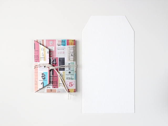 large notebook made using a shipping tag template