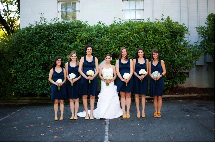 independent designer real wedding bridesmaids wearing