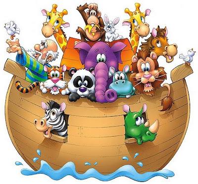 Desenho da arca de Nóe colorido