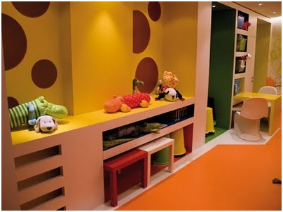 Colorful desk for kids. Office for children in the bedroom
