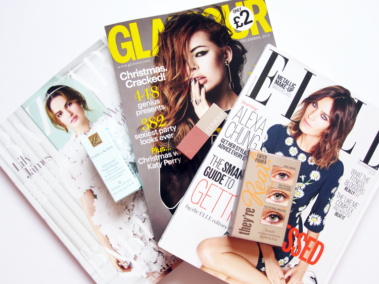 UK Magazine Freebies: Glamour with Clinique, Elle with Benefit & Harper's Bazaar with Estee Lauder - December 2015