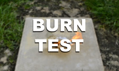 DIY fire starter burn test