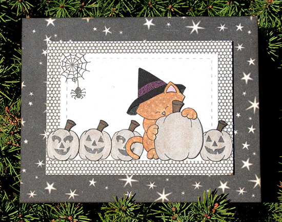 Cat Halloween card by Larissa Heskett for Newton's Nook Designs | Newton's Perfect Pumpkin Stamp Set