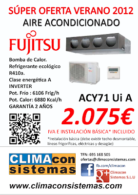Súper oferta aire acondicionado en sevilla 2012 Climacon Sistemas equipos conductos Fujitsu
