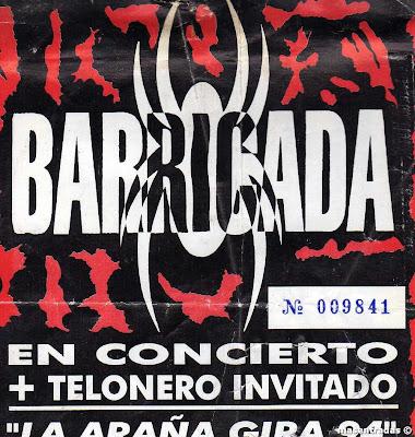 entrada de concierto de barricada