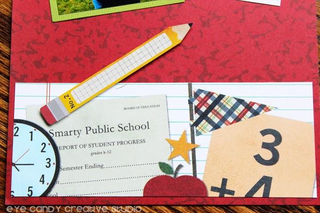 scarpbook paper, math equation, clock, smarty public, pencil art
