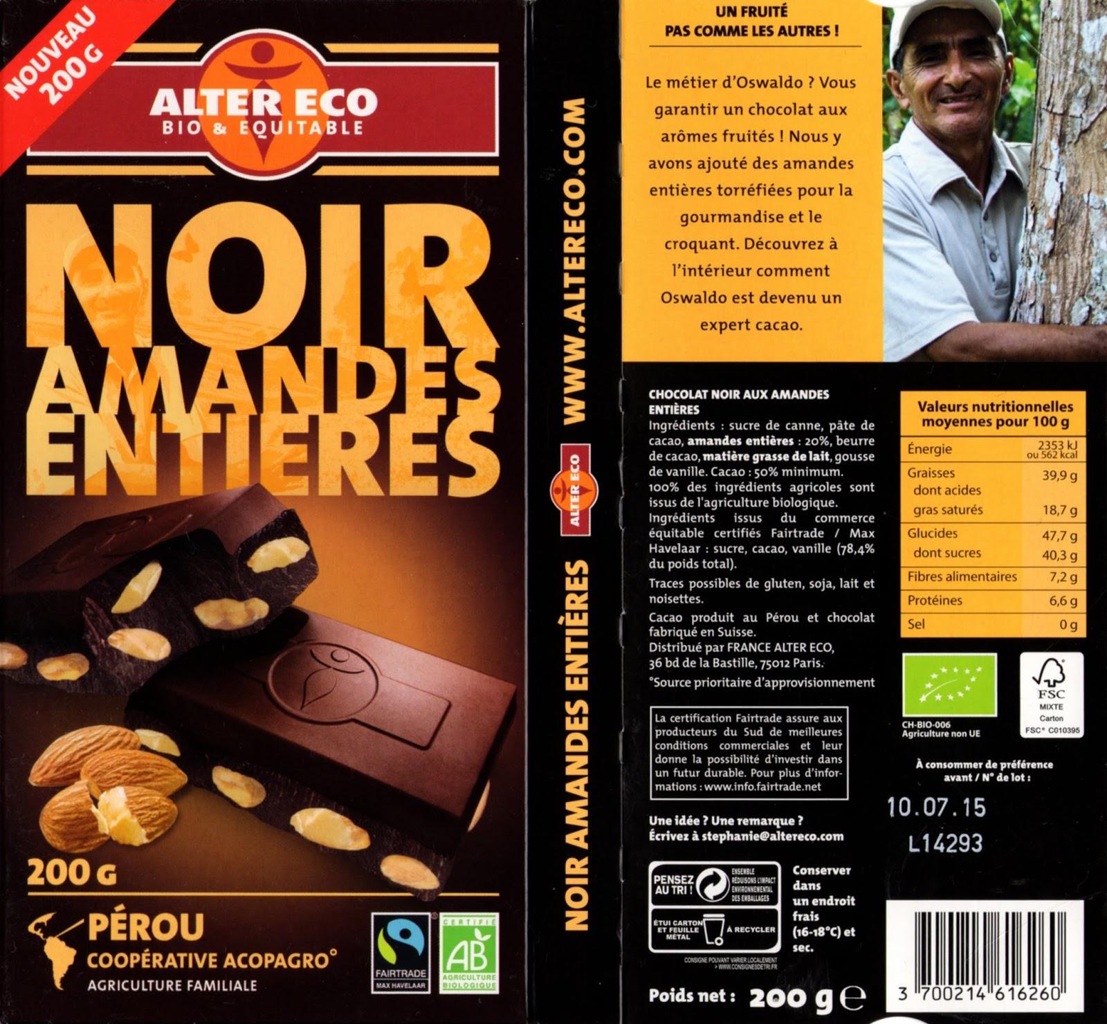 tablette de chocolat noir gourmand alter eco pérou noir amandes entières
