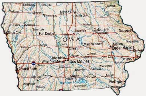Iowa road map printable.
