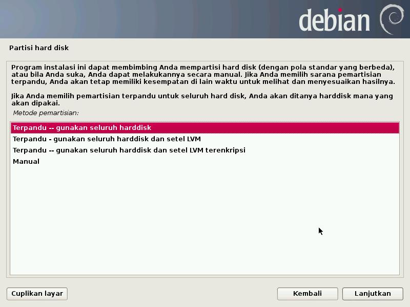 Panduan pembuatan partisi di Debian 7.0