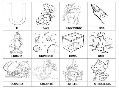 Laminas Con Dibujos Para Aprender Palabras Y Colorear Con Letra  U