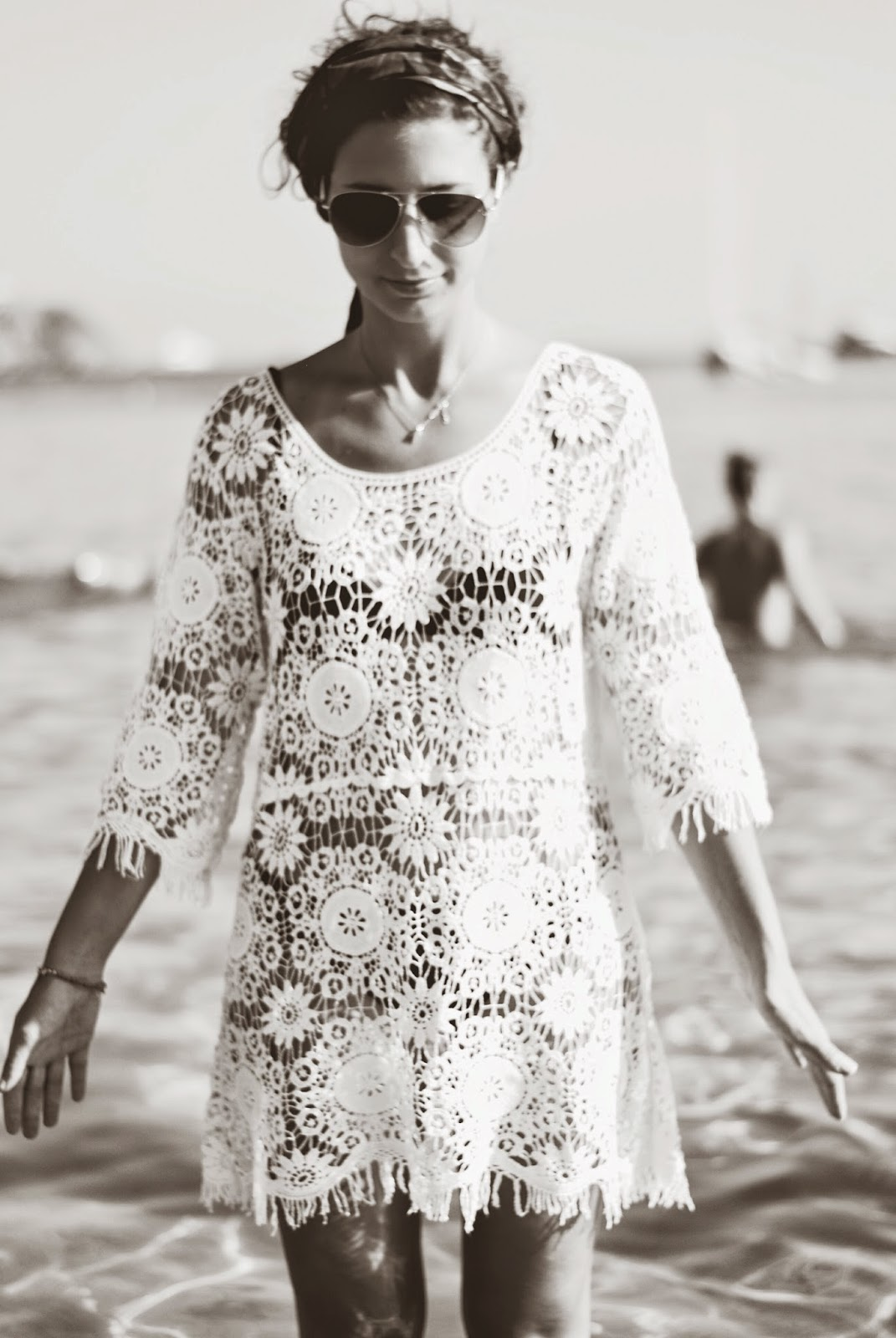 mykonos greece beach summer fashion crochet dress white
