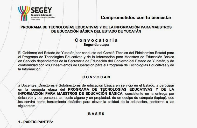 Convocatoria del programa de tic para maestros de for Convocatoria de maestros
