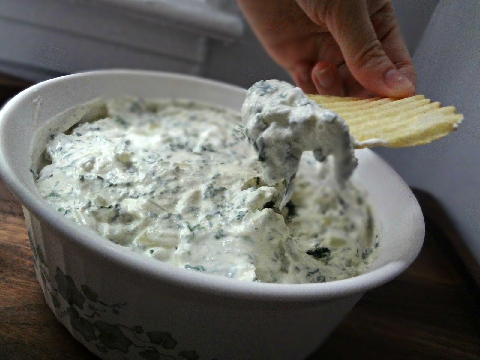 The Cooking Actress: Sour Cream, Spinach, and Onion Dip (Lightened Up)